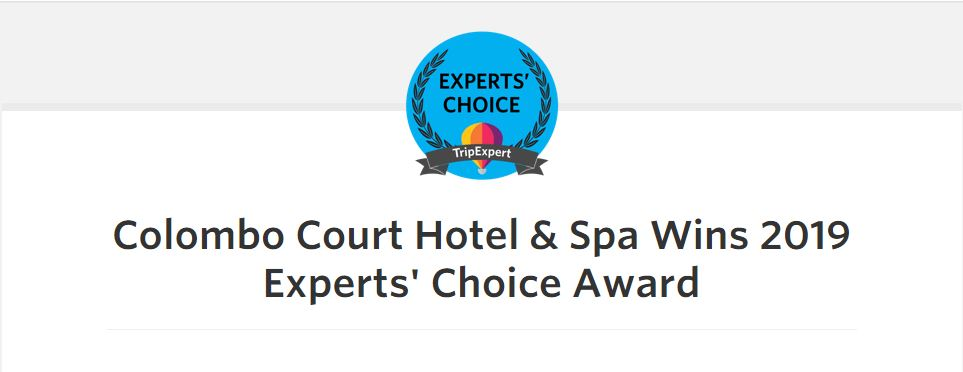 Colombo Court Hotel & Spa Wins 2019 Experts' Choice Award